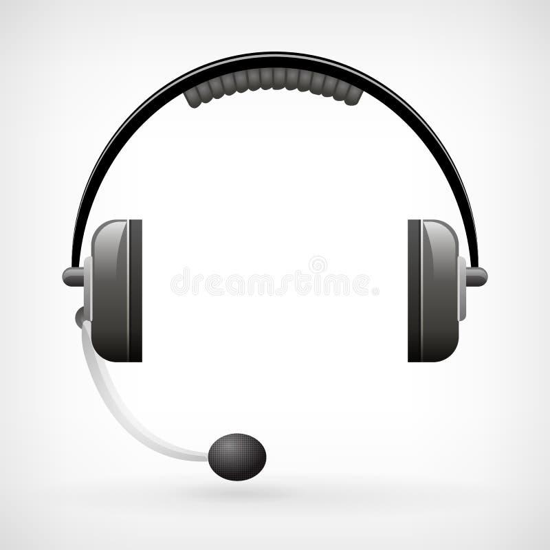 Icono clásico detallado de los auriculares con el micrófono ilustración del vector