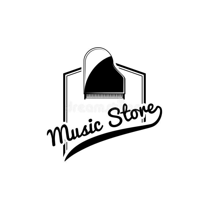 Icono clásico magnífico del piano Etiqueta del logotipo de la tienda de la música Emblema de la tienda de la música Instrumento m stock de ilustración