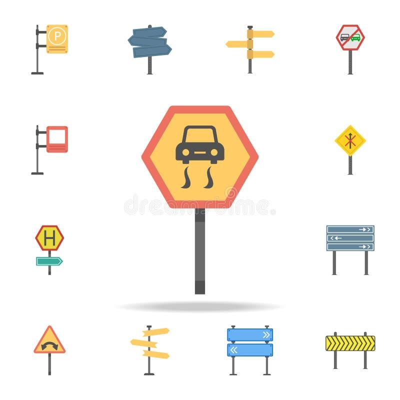 Icono coloreado advertencia del peligro Sistema detallado de iconos de la señal de tráfico del color Diseño gráfico superior Uno  libre illustration