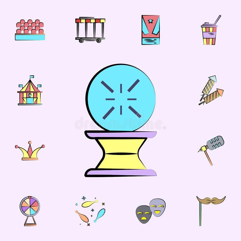 Icono coloreado bola mágica sistema universal de los iconos del circo para la web y el móvil stock de ilustración