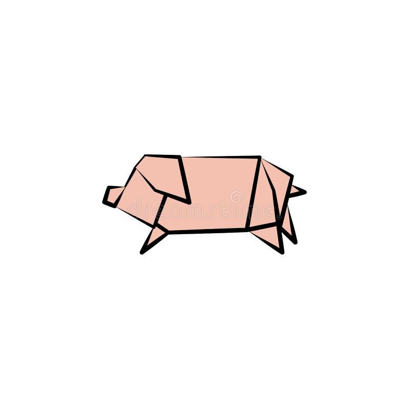 icono coloreado cerdo del estilo de la papiroflexia Elemento del icono de los animales Hechos del papel en icono del cerdo del ej stock de ilustración