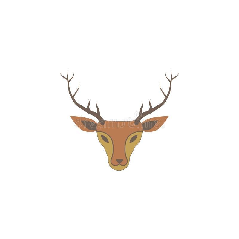 Icono coloreado ciervos de la Navidad Elemento del icono coloreado día de fiesta de la Navidad Icono superior del diseño gráfico  stock de ilustración