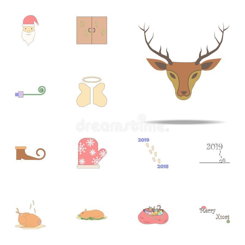 Icono coloreado ciervos de la Navidad Sistema universal de los iconos del día de fiesta de la Navidad para la web y el móvil ilustración del vector