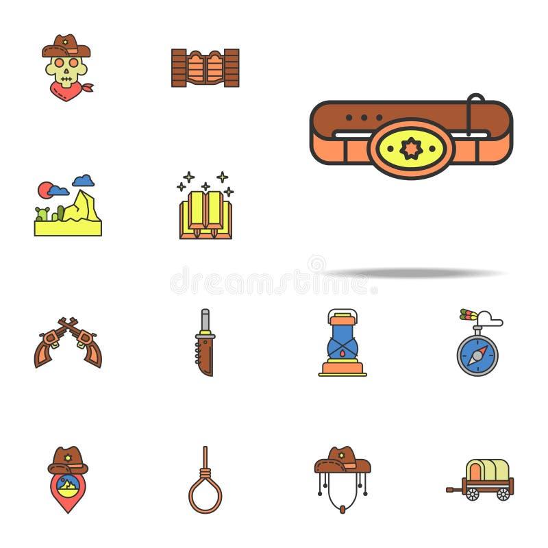 icono coloreado correa del vaquero Sistema universal de los iconos del oeste salvajes para la web y el móvil stock de ilustración