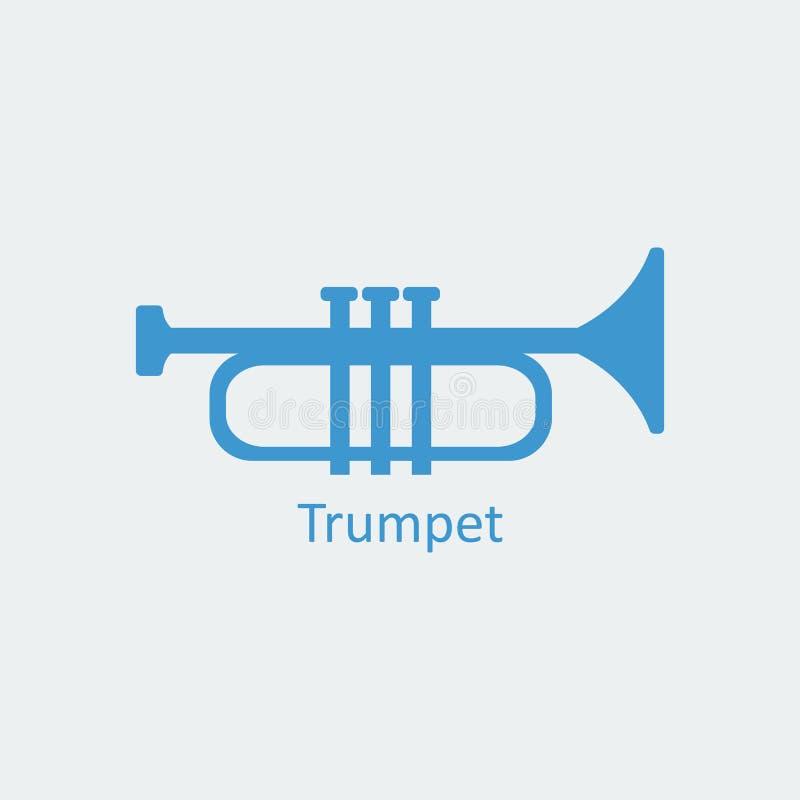 Icono coloreado de la trompeta Icono del vector de la silueta stock de ilustración