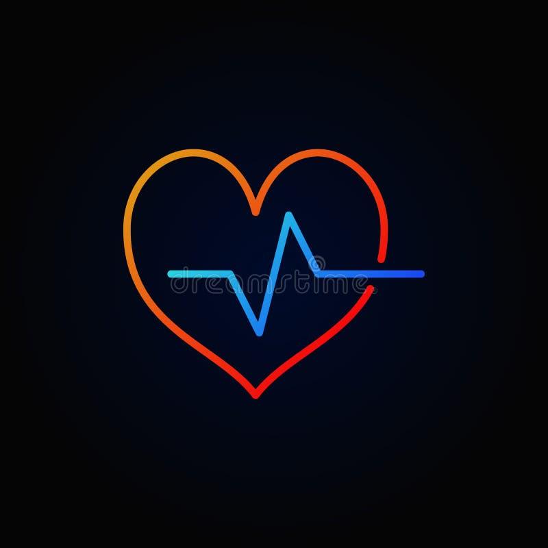 Icono coloreado del esquema del ciclo cardiaco Muestra brillante del latido del corazón del vector ilustración del vector