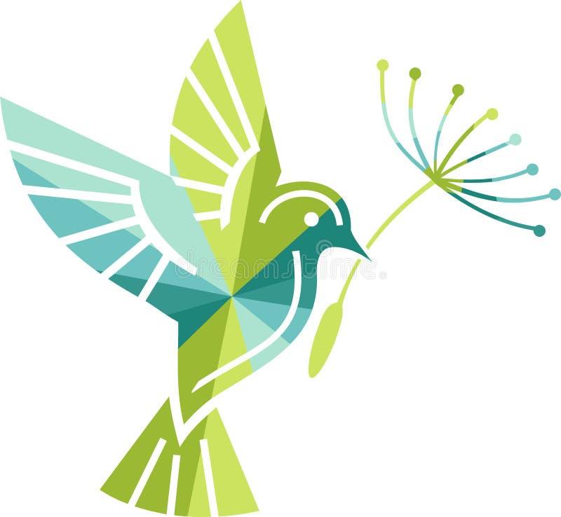 icono coloreado del pájaro con una flor libre illustration
