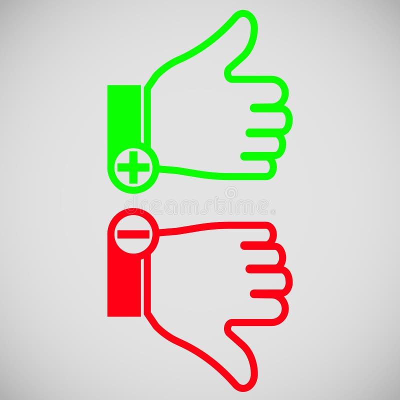 Icono coloreado del pulgar hacia arriba y hacia abajo con más y menos libre illustration