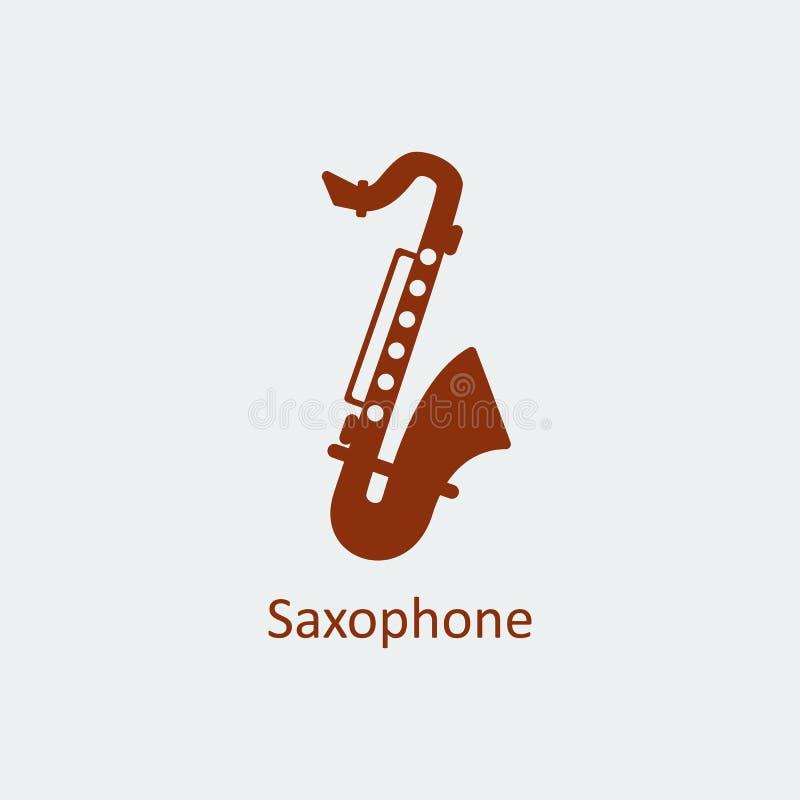 Icono coloreado del saxofón Icono del vector de la silueta libre illustration
