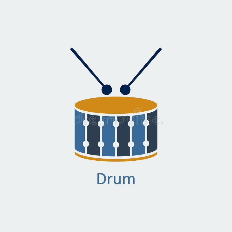 Icono coloreado del tambor Icono del vector de la silueta libre illustration