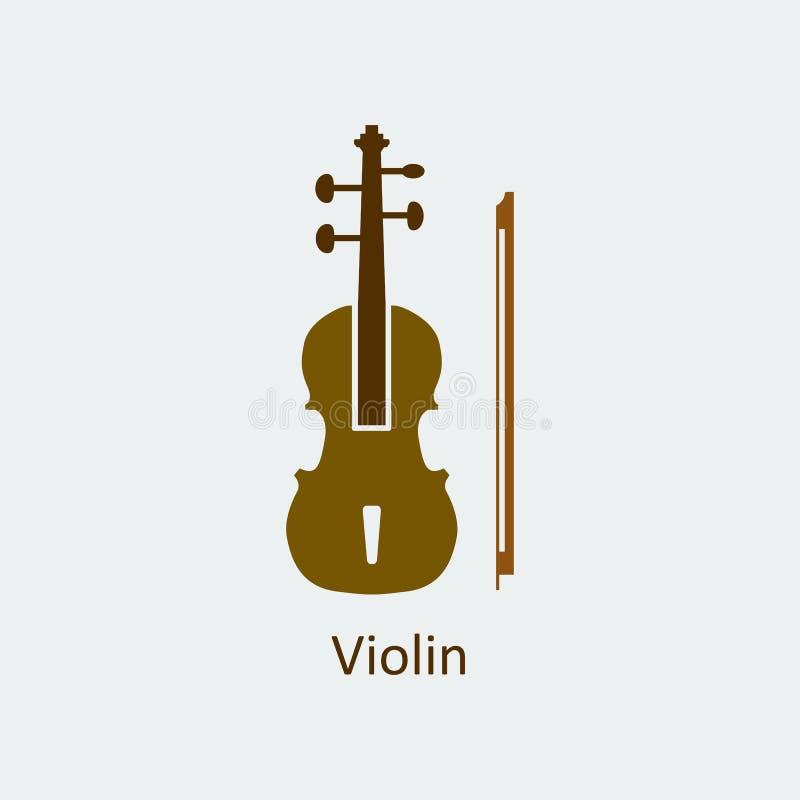 Icono coloreado del violín Icono del vector de la silueta stock de ilustración