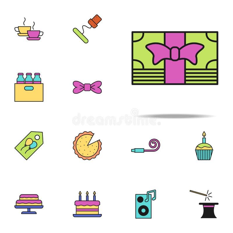 icono coloreado dinero del regalo Sistema universal de los iconos del cumpleaños para el web y el móvil libre illustration
