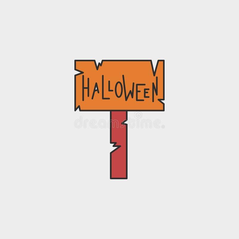 icono coloreado esquema del letrero de Halloween stock de ilustración