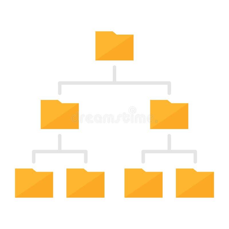 Icono coloreado estructura de la jerarquía de la carpeta ilustración del vector