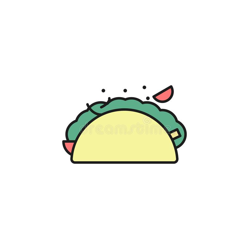 icono coloreado fachitos del esquema Elemento del icono de la comida para los apps móviles del concepto y del web La línea fina i stock de ilustración