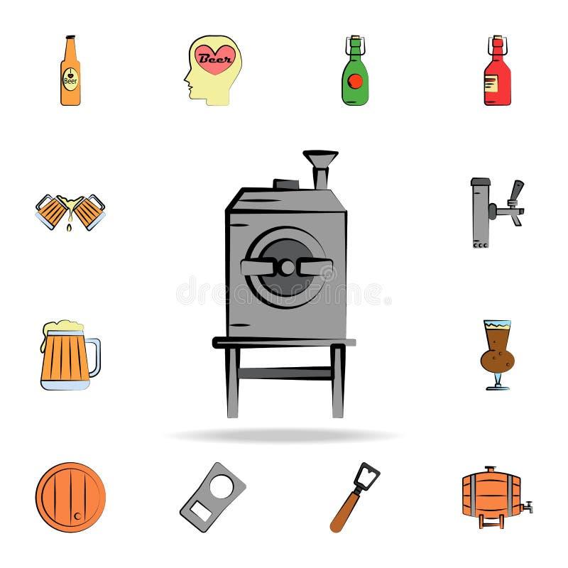 icono coloreado horno del estilo del bosquejo de la cerveza Sistema detallado de iconos dibujados del estilo de la cerveza del co stock de ilustración