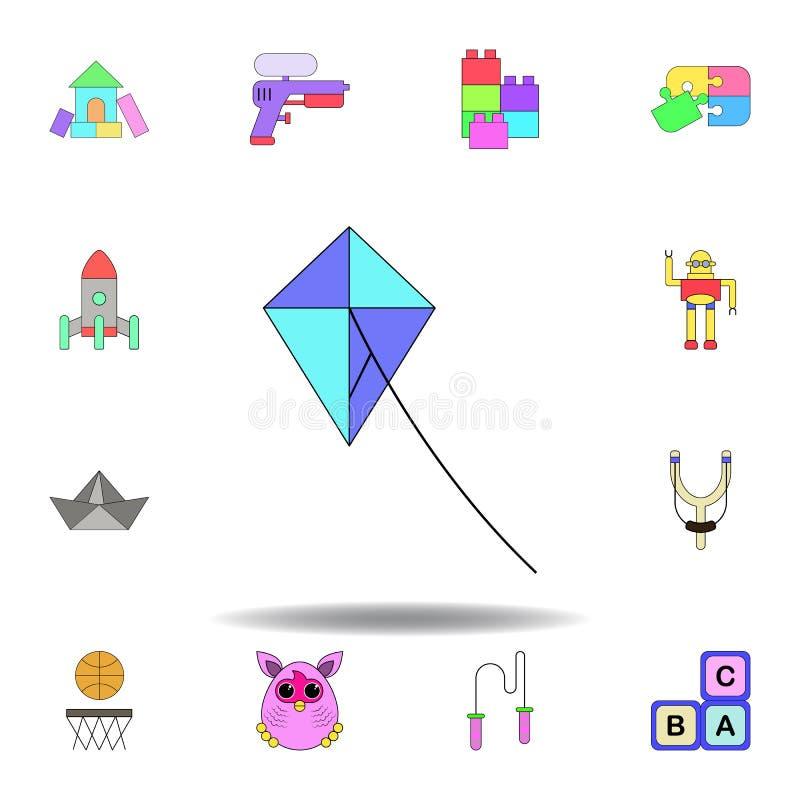 Icono coloreado juguete de la cometa de la historieta fije de iconos del ejemplo de los juguetes de los niños las muestras, símbo stock de ilustración