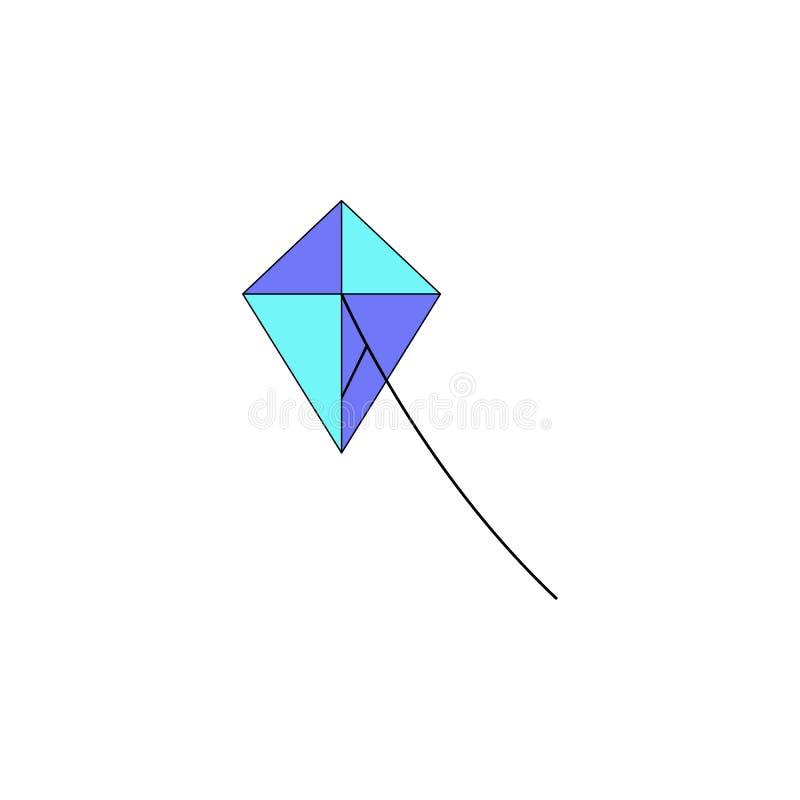 Icono coloreado juguete de la cometa de la historieta Las muestras y los símbolos se pueden utilizar para la web, logotipo, app m ilustración del vector