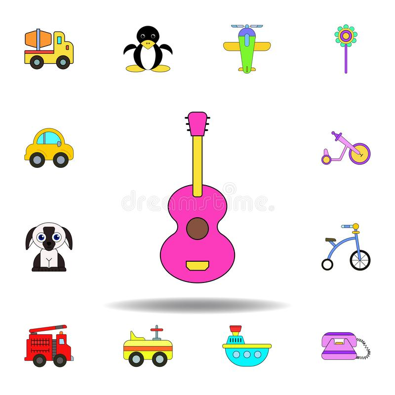 Icono coloreado juguete de la guitarra de la historieta fije de iconos del ejemplo de los juguetes de los niños las muestras, sím ilustración del vector