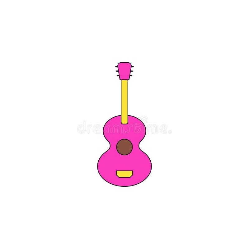 Icono coloreado juguete de la guitarra de la historieta Las muestras y los símbolos se pueden utilizar para la web, logotipo, app ilustración del vector