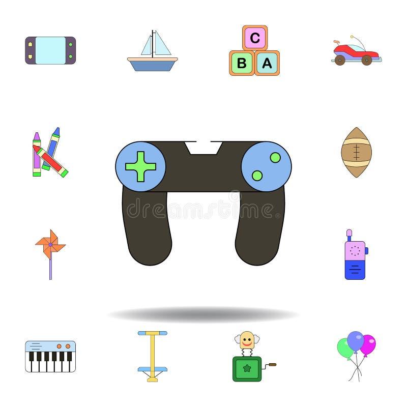 Icono coloreado juguete de la palanca de mando de la historieta fije de iconos del ejemplo de los juguetes de los niños las muest libre illustration