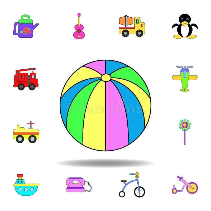Icono coloreado juguete de la pelota de playa de la historieta fije de iconos del ejemplo de los juguetes de los niños las muestr stock de ilustración