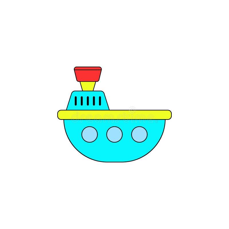 Icono coloreado juguete del baño del barco de la historieta Las muestras y los símbolos se pueden utilizar para la web, logotipo, libre illustration
