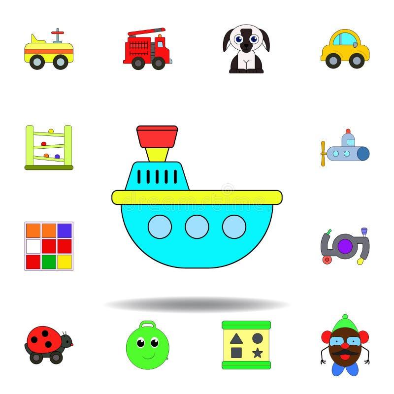 Icono coloreado juguete del ba?o del barco de la historieta fije de iconos del ejemplo de los juguetes de los niños las muestras, libre illustration