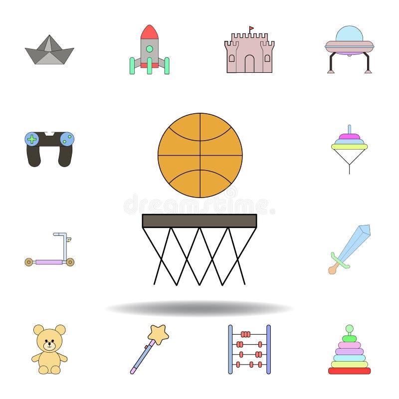 Icono coloreado juguete del baloncesto de la historieta fije de iconos del ejemplo de los juguetes de los niños las muestras, sím stock de ilustración