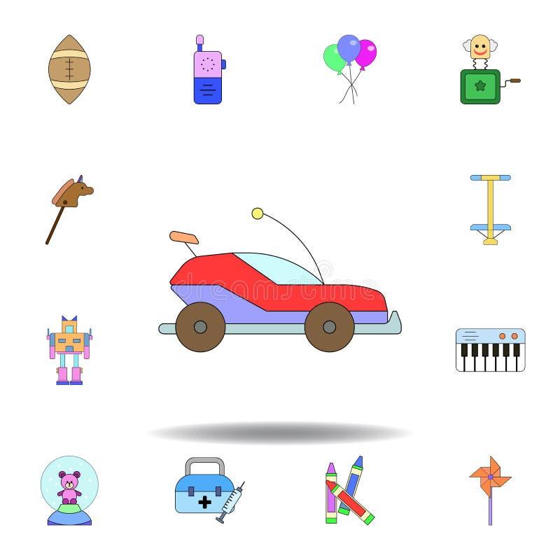Icono coloreado juguete del coche de la historieta fije de iconos del ejemplo de los juguetes de los niños las muestras, símbolos stock de ilustración