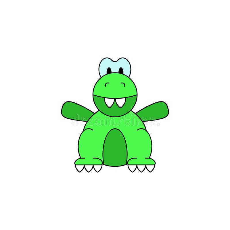 Icono coloreado juguete del dinosaurio de la historieta Las muestras y los símbolos se pueden utilizar para la web, logotipo, app stock de ilustración