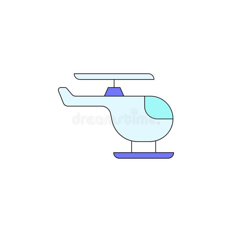 Icono coloreado juguete del helicóptero de la historieta Las muestras y los símbolos se pueden utilizar para la web, logotipo, ap stock de ilustración