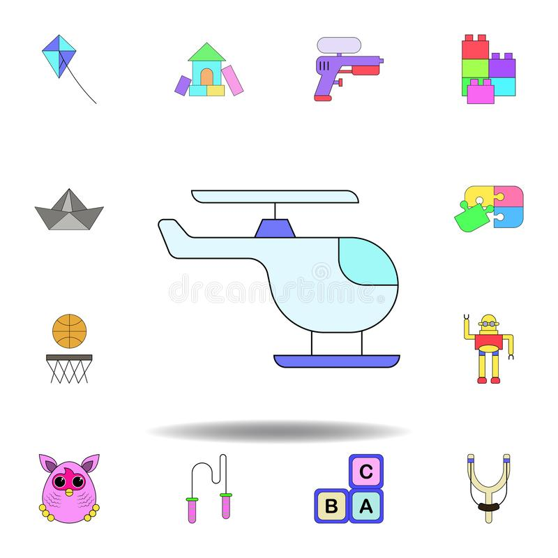 Icono coloreado juguete del helic?ptero de la historieta fije de iconos del ejemplo de los juguetes de los niños las muestras, sí libre illustration