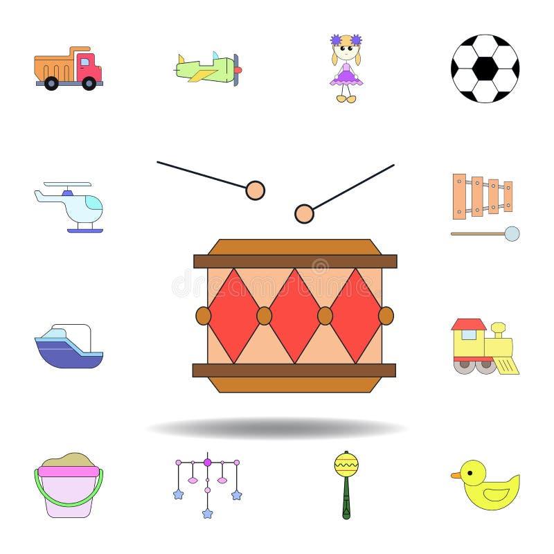 Icono coloreado juguete del tambor de la historieta fije de iconos del ejemplo de los juguetes de los niños las muestras, símbolo stock de ilustración