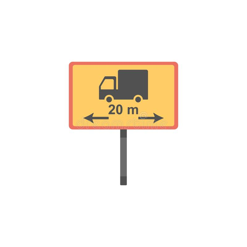 Icono coloreado límite de la longitud Elemento de señales de tráfico y del icono de los empalmes para los apps móviles del concep stock de ilustración