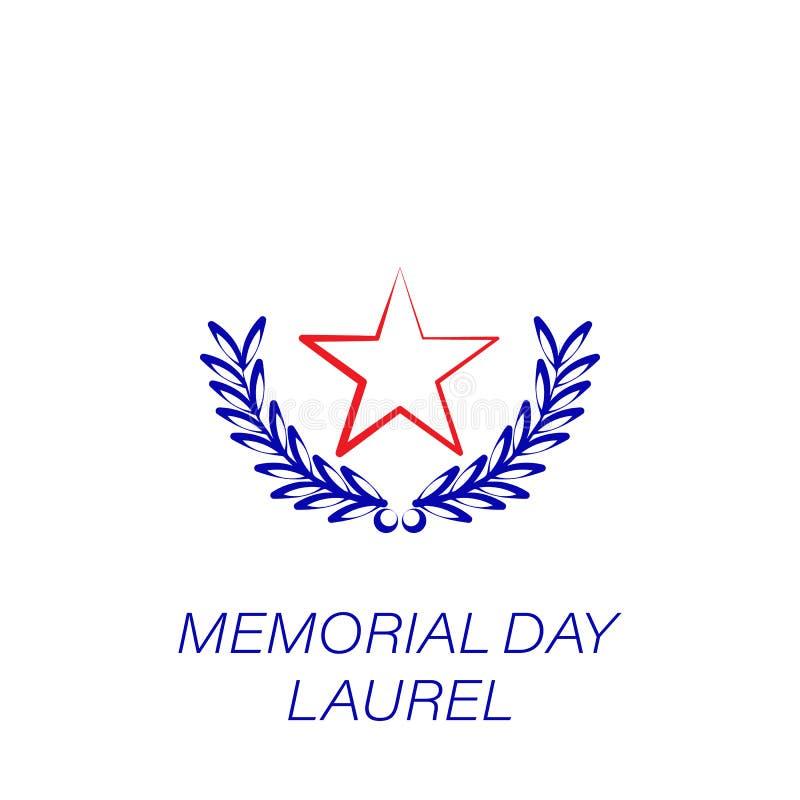 Icono coloreado laurel del Memorial Day Elemento del icono del ejemplo del Memorial Day Las muestras y los símbolos se pueden uti stock de ilustración