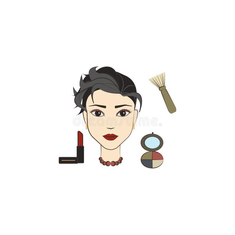 icono coloreado mujer hermosa del maquillaje Elemento de la belleza y del icono antienvejecedor para los apps móviles del concept libre illustration