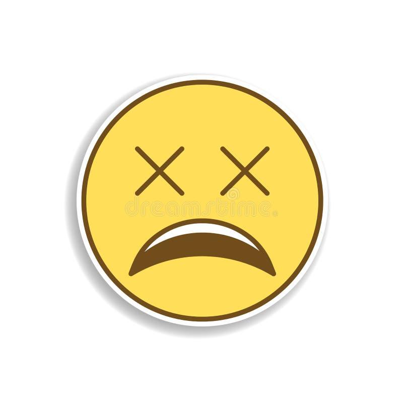 icono coloreado muy cansado de la etiqueta engomada del emoji Elemento del emoji para el ejemplo móvil de los apps del concepto y libre illustration