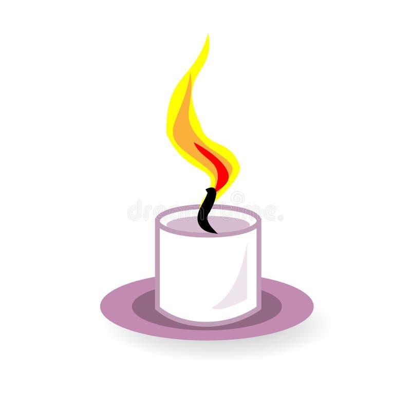 Icono coloreado por una tarde romántica, día de fiesta, la Navidad, Año Nuevo de la vela Ilustraci?n del vector ilustración del vector