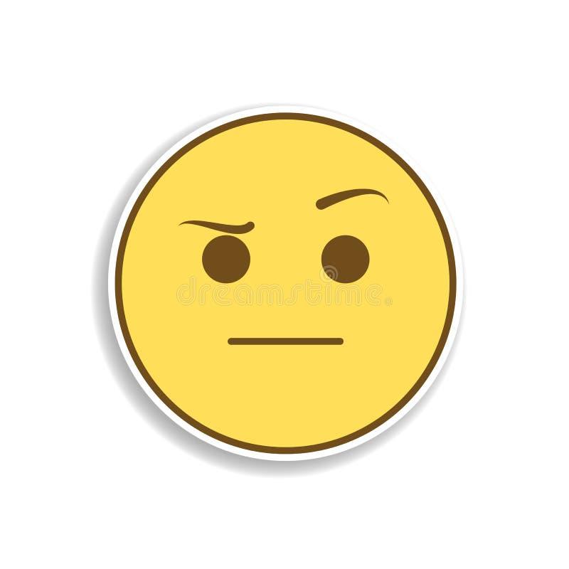 icono coloreado sospechado de la etiqueta engomada del emoji Elemento del emoji para el ejemplo móvil de los apps del concepto y  ilustración del vector
