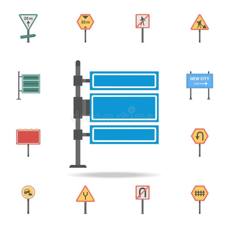 Icono coloreado tablero en blanco de la muestra Sistema detallado de iconos de la señal de tráfico del color Diseño gráfico super stock de ilustración