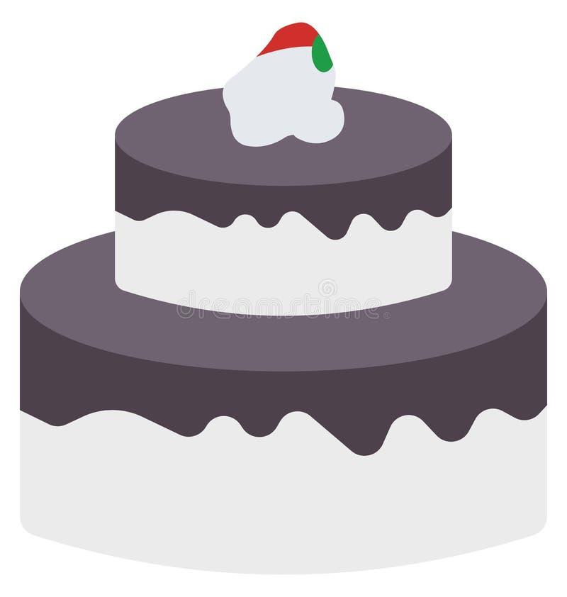 Icono coloreado torta del vector de la Navidad que puede ser modificado o corregir fácilmente stock de ilustración