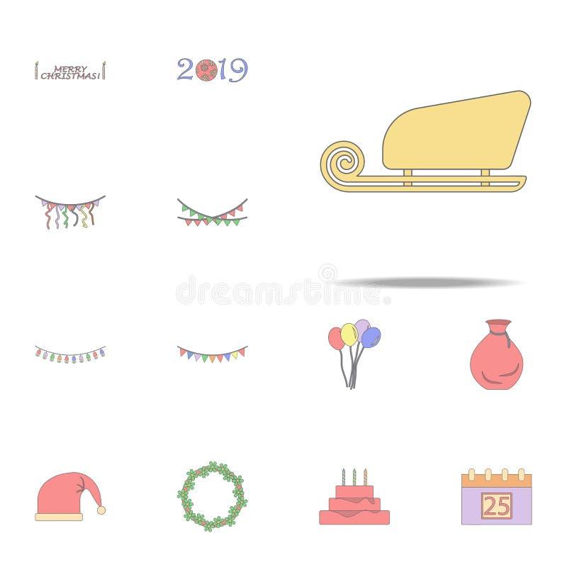 Icono coloreado trineo de Santa Claus Sistema universal de los iconos del día de fiesta de la Navidad para la web y el móvil ilustración del vector