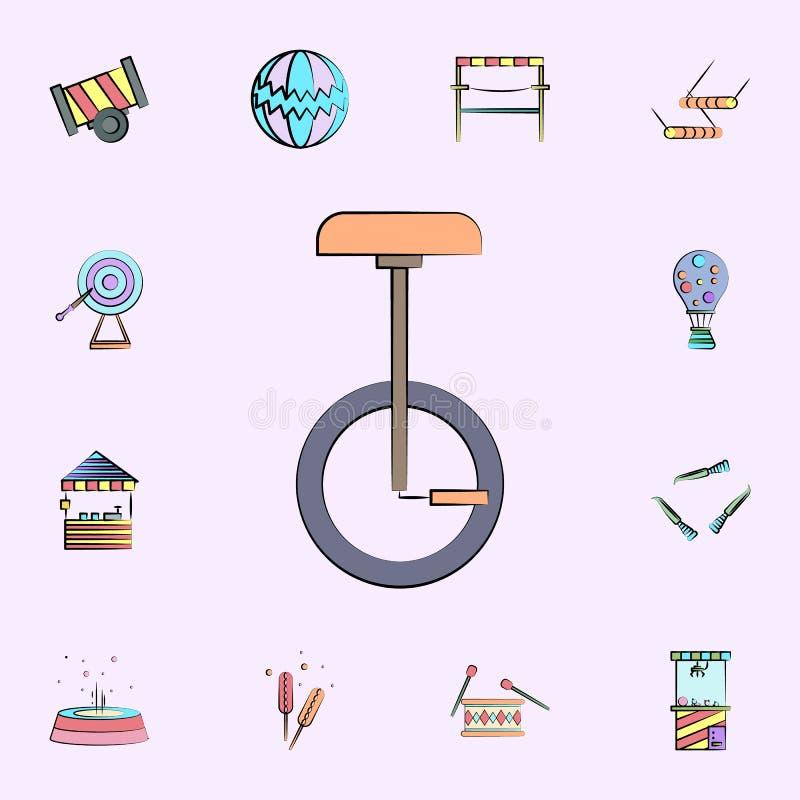 icono coloreado unicycle sistema universal de los iconos del circo para la web y el móvil stock de ilustración