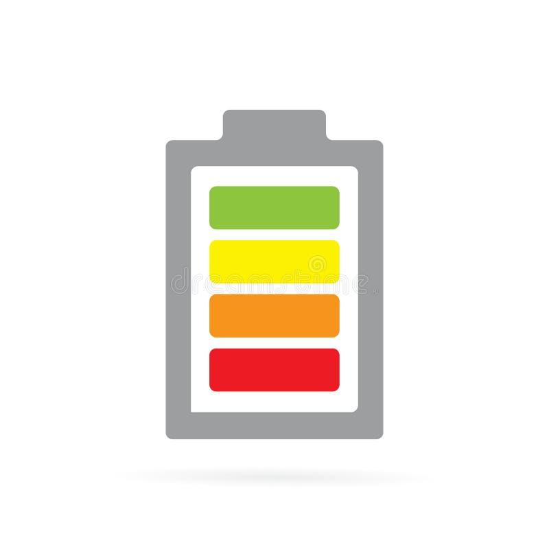 Icono coloreado vector de la batería Símbolo del acumulador y ejemplo completamente cargados de la muestra stock de ilustración