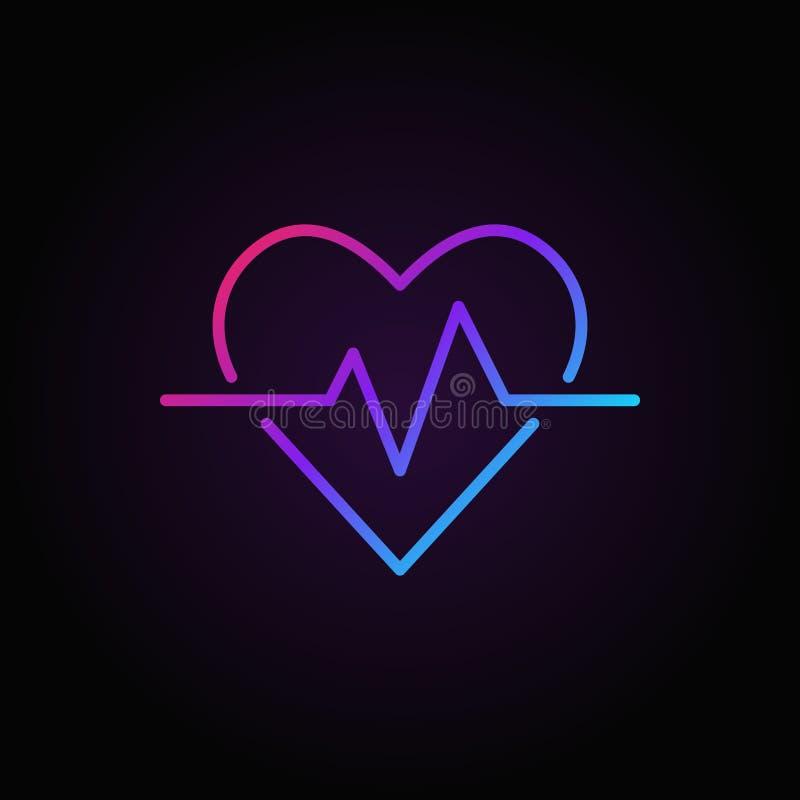 Icono coloreado vector del latido del corazón Símbolo del esquema del ritmo cardíaco stock de ilustración