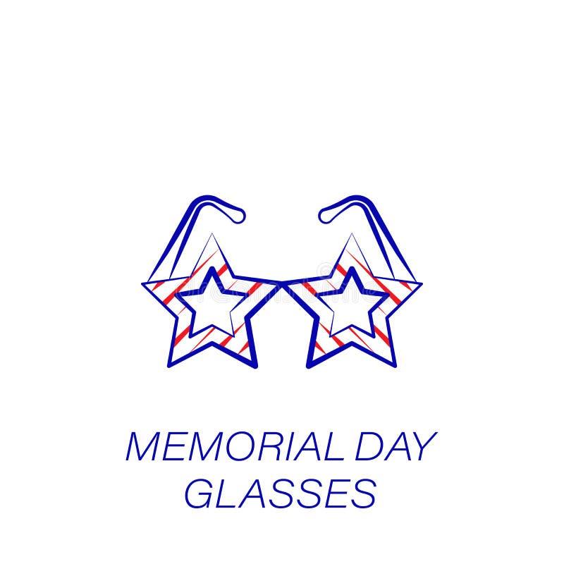 Icono coloreado vidrios del Memorial Day Elemento del icono del ejemplo del Memorial Day Las muestras y los símbolos se pueden ut stock de ilustración