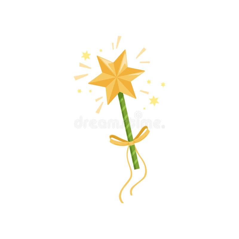 Icono colorido de la vara de hadas de s con la estrella de oro grande y el arco amarillo Palillo mágico que separa luces chispean stock de ilustración