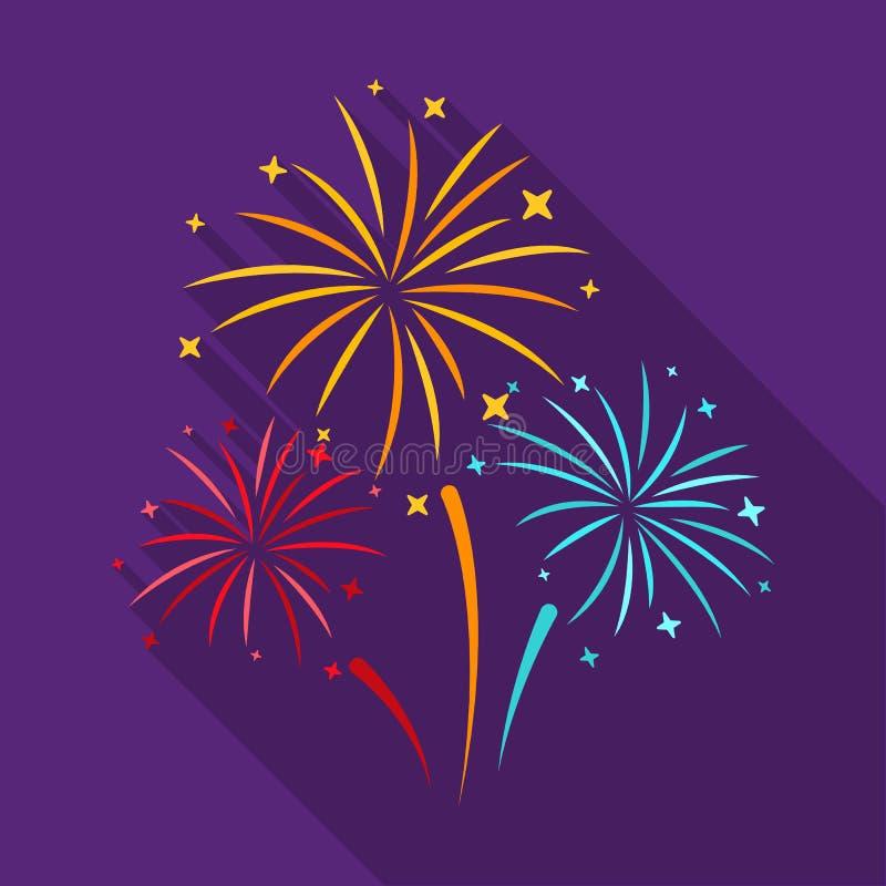 Icono colorido de los fuegos artificiales en estilo plano aislado en el fondo blanco Ejemplo del vector de la acción del símbolo  imágenes de archivo libres de regalías