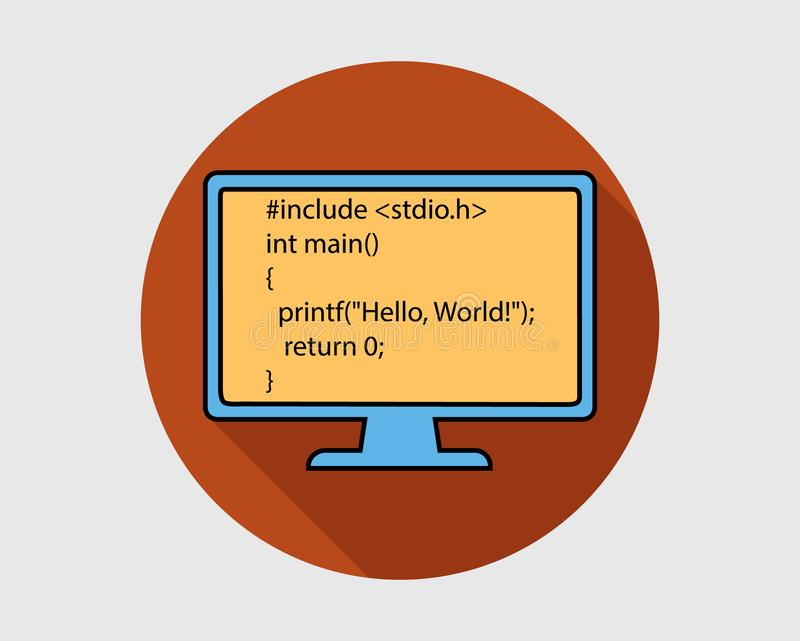Icono colorido del botón de la lengua de la programación informática Hola mundo libre illustration